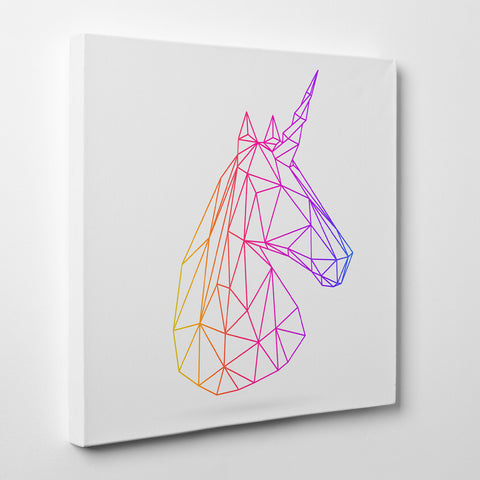 Geometric canvas print with 3D unicorn, on light grey background - side view