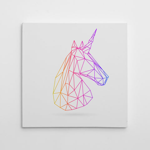 Geometric canvas print with 3D unicorn, on light grey background.