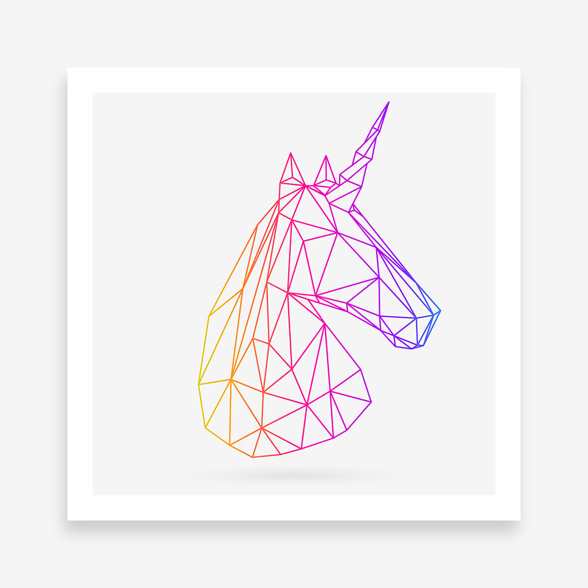 Geometric poster print with 3D unicorn, on light grey background.