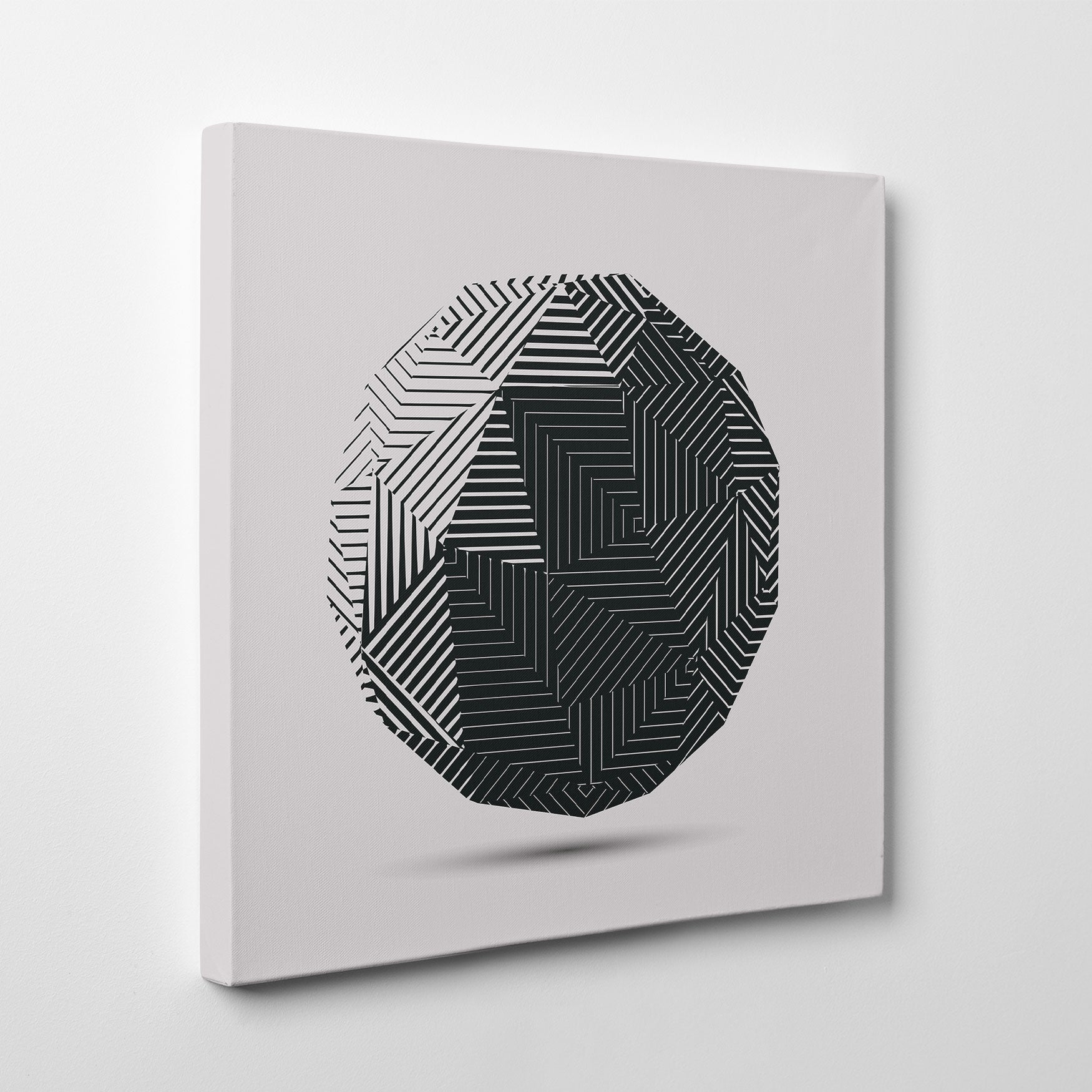 Geometric poster print 3D dark grey ball, on light grey background. Minimalist art print for a stylish interior. Discover our Geometric Premium Poster Prints Collection and create your own wall art gallery - side view