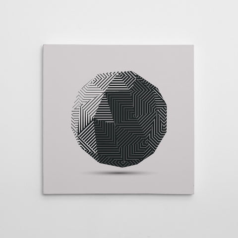 Geometric poster print 3D dark grey ball, on light grey background. Minimalist art print for a stylish interior. Discover our Geometric Premium Poster Prints Collection and create your own wall art gallery.