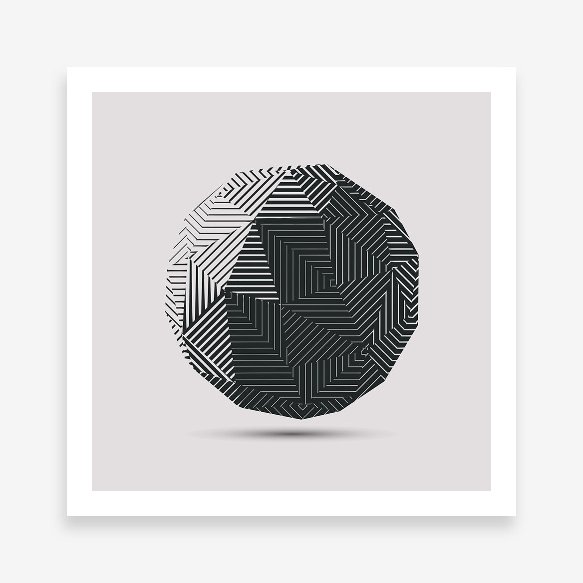 Geometric poster print 3D dark grey ball, on light grey background.
