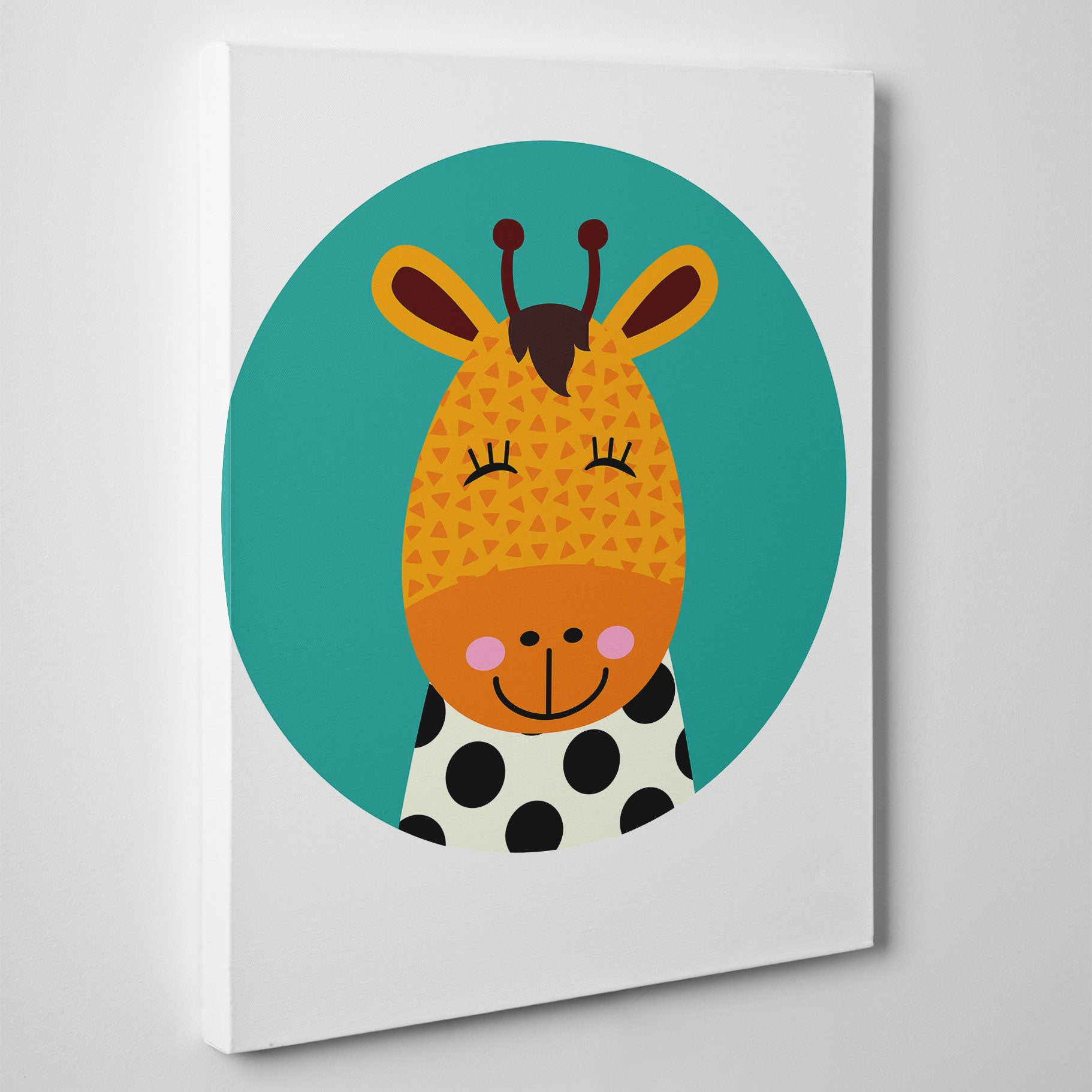 Nursery canvas print with a smiley giraffe in a blue circle - side view
