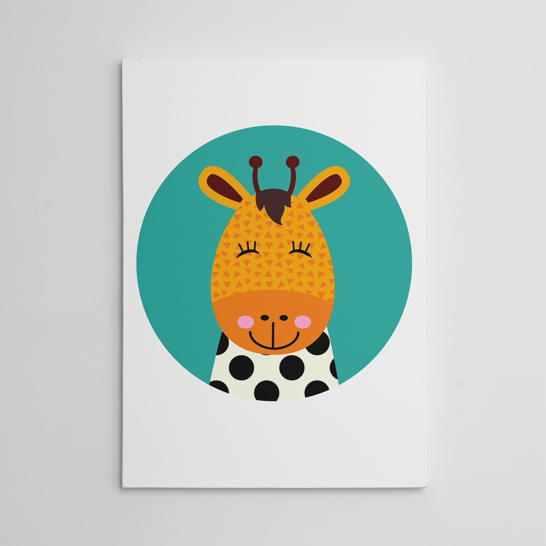 Nursery canvas print with a smiley giraffe in a blue circle.