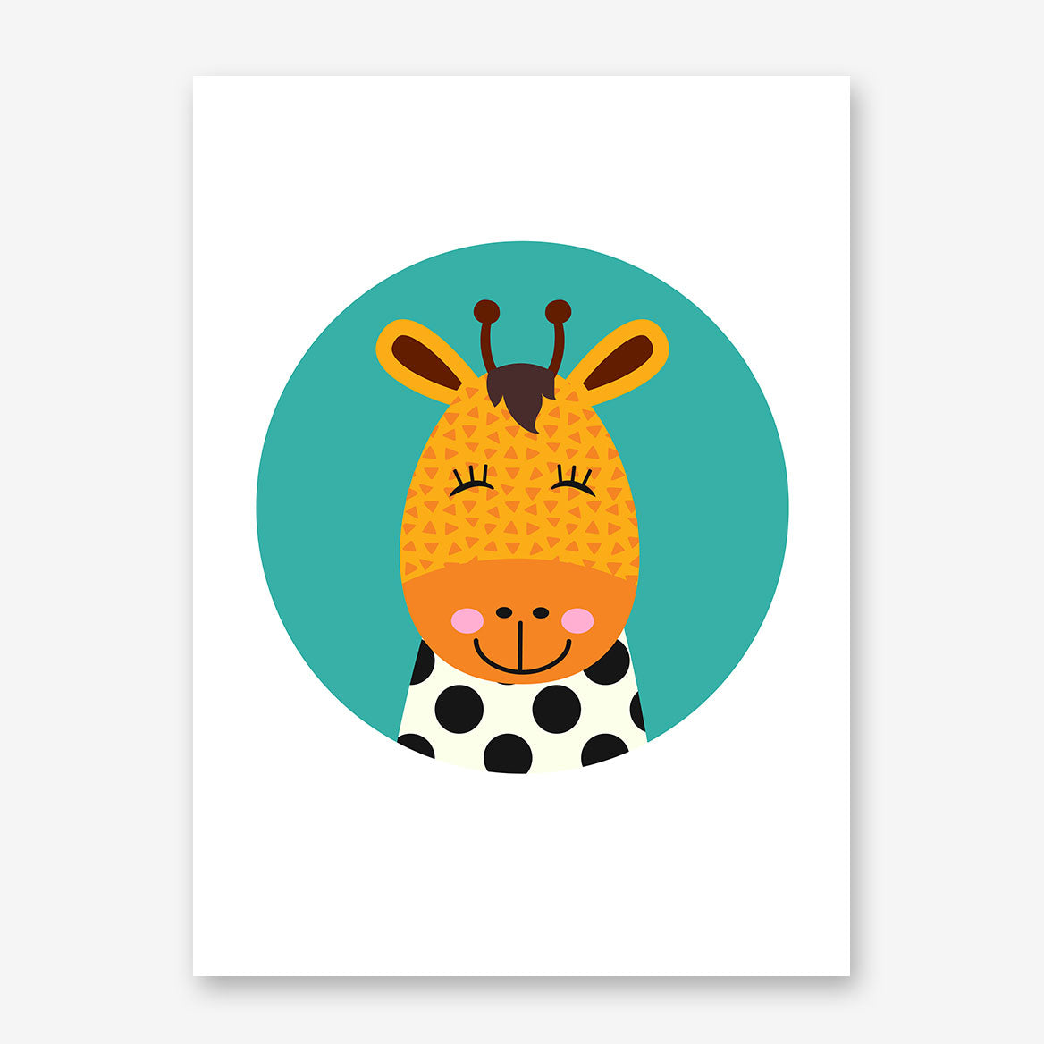 Nursery poster print with a smiley giraffe in a blue circle.