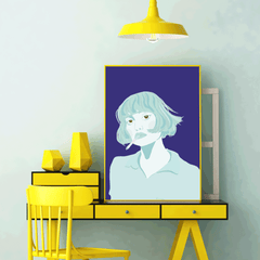 Illustration poster print with a blue woman on purple background - framed view