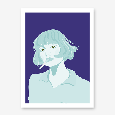 Illustration poster print with a blue woman on purple background.