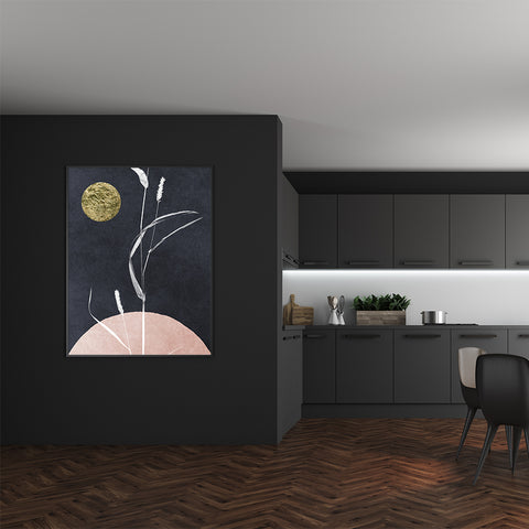 Abstract poster print by Kubistika, with textured gold sun and white plant, on dark grey and pink background, in dining room
