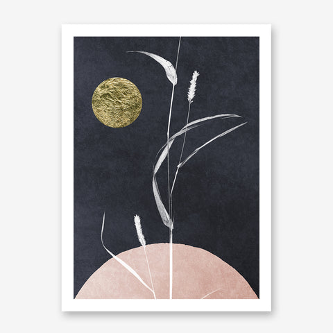 Abstract poster print by Kubistika, with textured gold sun and white plant, on dark grey and pink background