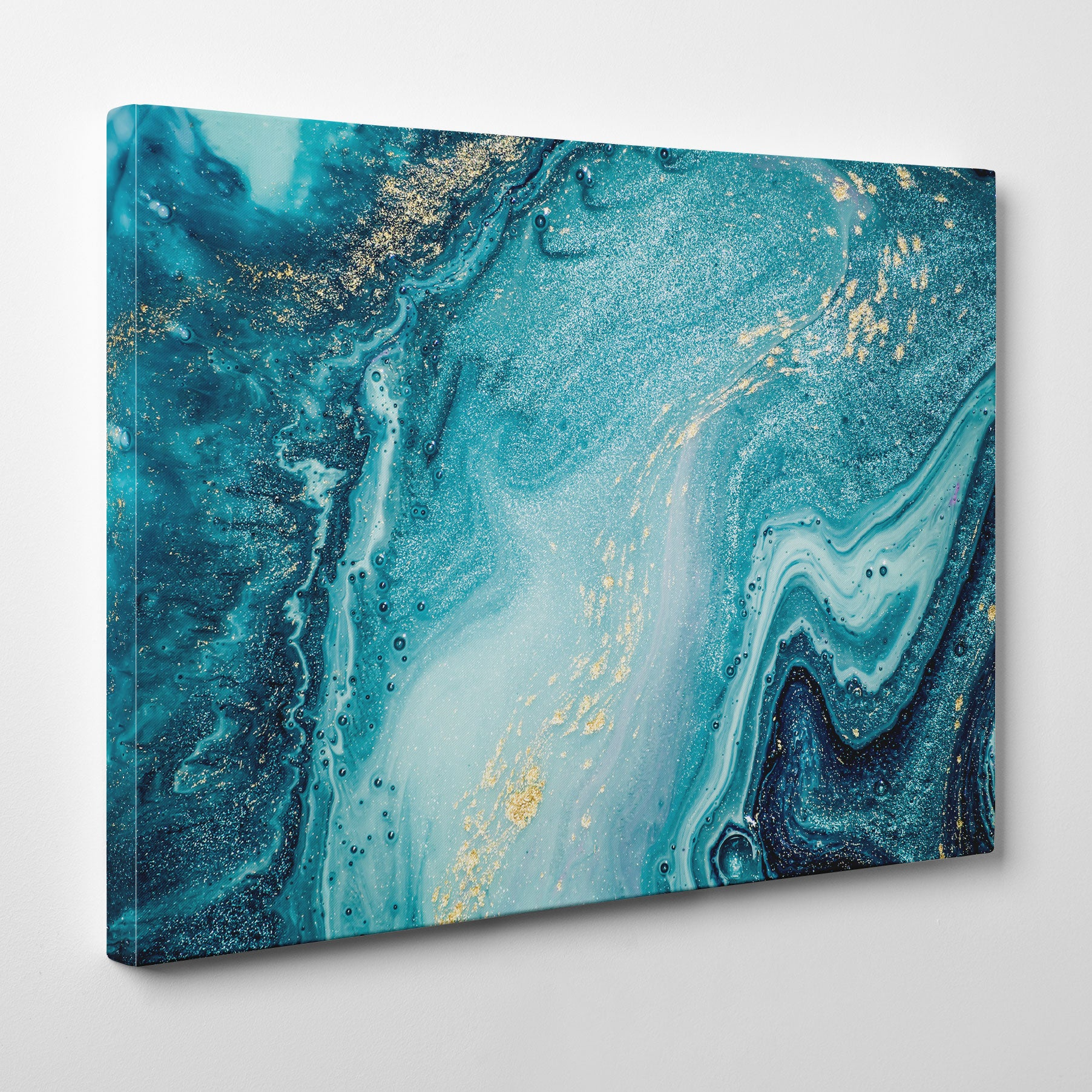 Abstract canvas print with gold and light blue paint mix - side view