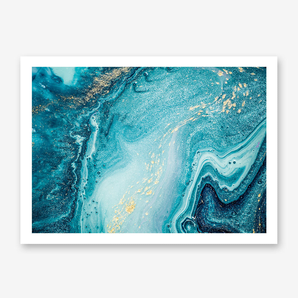 Abstract poster print with gold and light blue paint mix.