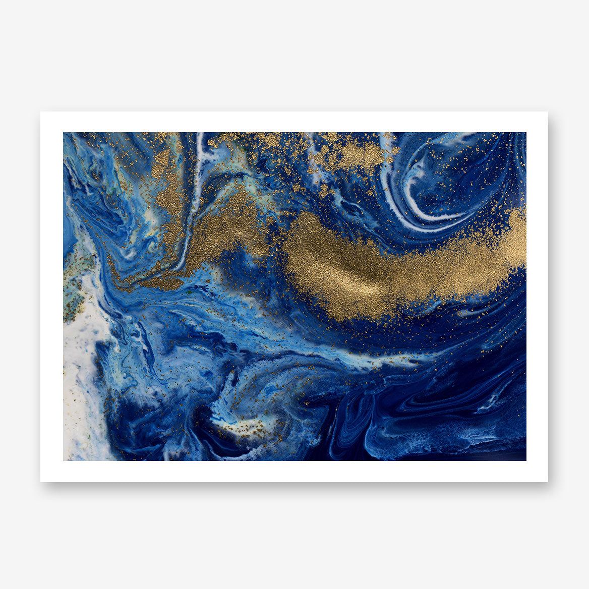 Abstract poster print with gold and blue paint mix.
