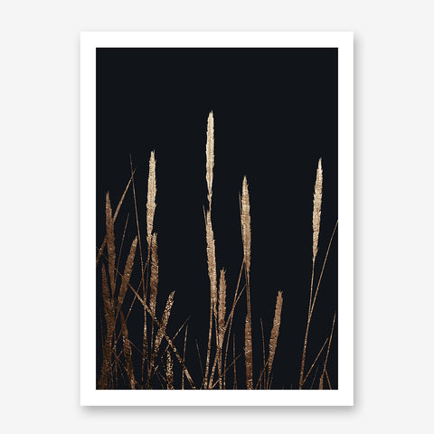 Abstract poster print by Kubistika, with textured golden wheat spikes, on black background.