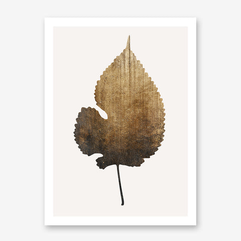Botanical poster print by Kubistika, with a large textured golden leaf, on light grey background.
