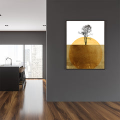 Abstract poster print by Kubistika, with yellow sun and black tree, on white and gold background; in dining room