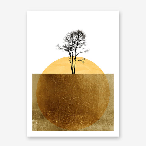 Abstract poster print by Kubistika, with yellow sun and black tree, on white and gold background.