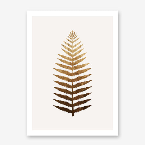 Plant poster print by Kubistika, with a large golden leaf, on light grey background
