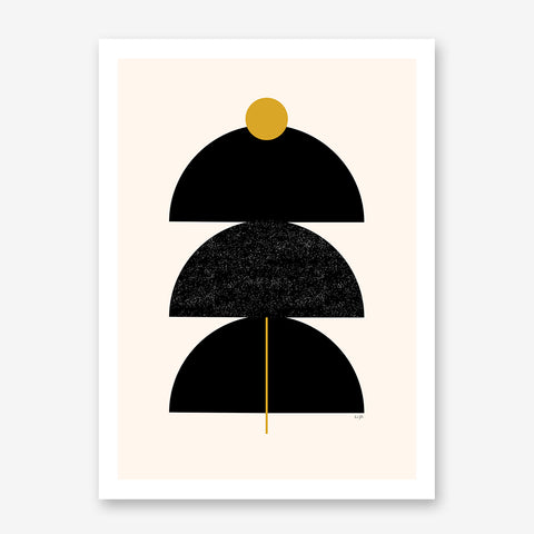 Graphic art print by Linda Gobeta, with black and mustard shapes, on light peach background.