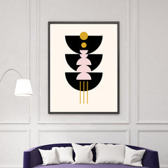 Graphic art print by Linda Gobeta, with black, pink and mustard shapes, on light peach background, living room view