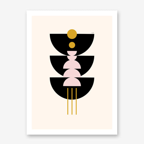 Graphic art print by Linda Gobeta, with black, pink and mustard shapes, on light peach background.