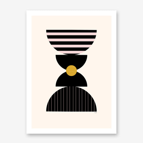 Graphic art poster print with black, pink and mustard shapes, on light peach background.