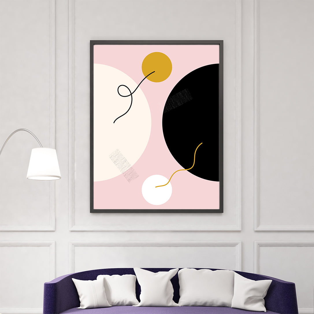 Circles illustration print by Linda Gobeta, on pink background, living room view.