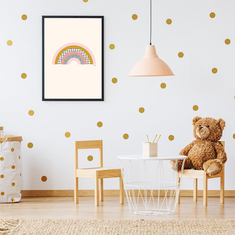 Illustration print by Linda Gobeta, with abstract pink and mustard rainbow, on light pink background, kids room view