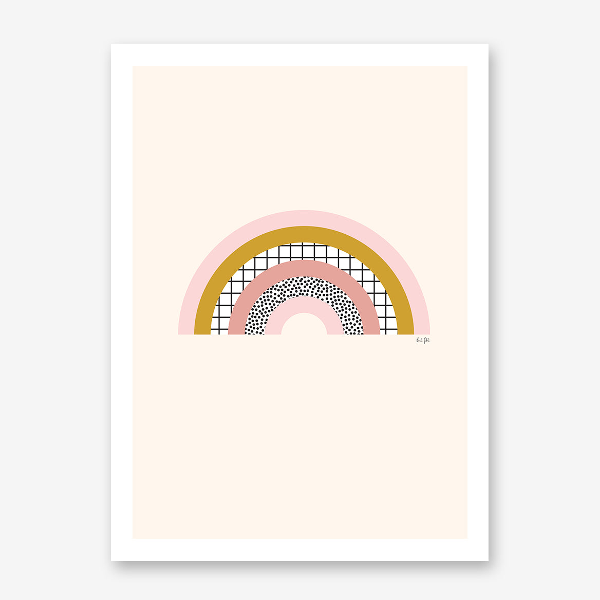 Illustration print by Linda Gobeta, with abstract pink and mustard rainbow, on light pink background.