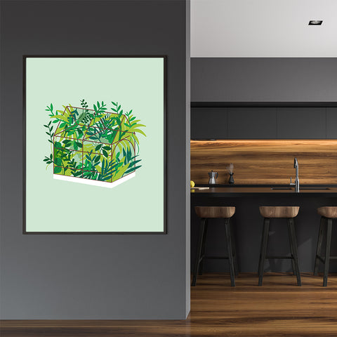 Modern illustration print with greenhouse, on light green background, in kitchen