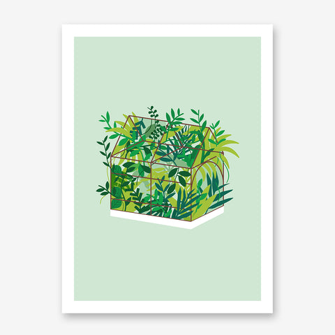Modern illustration print by Judy Kaufmann, with greenhouse, on light green background