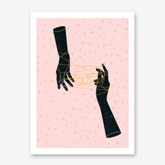 Poster print by Robert Farkas, with 2 black hands knitting the word love, on pink background.