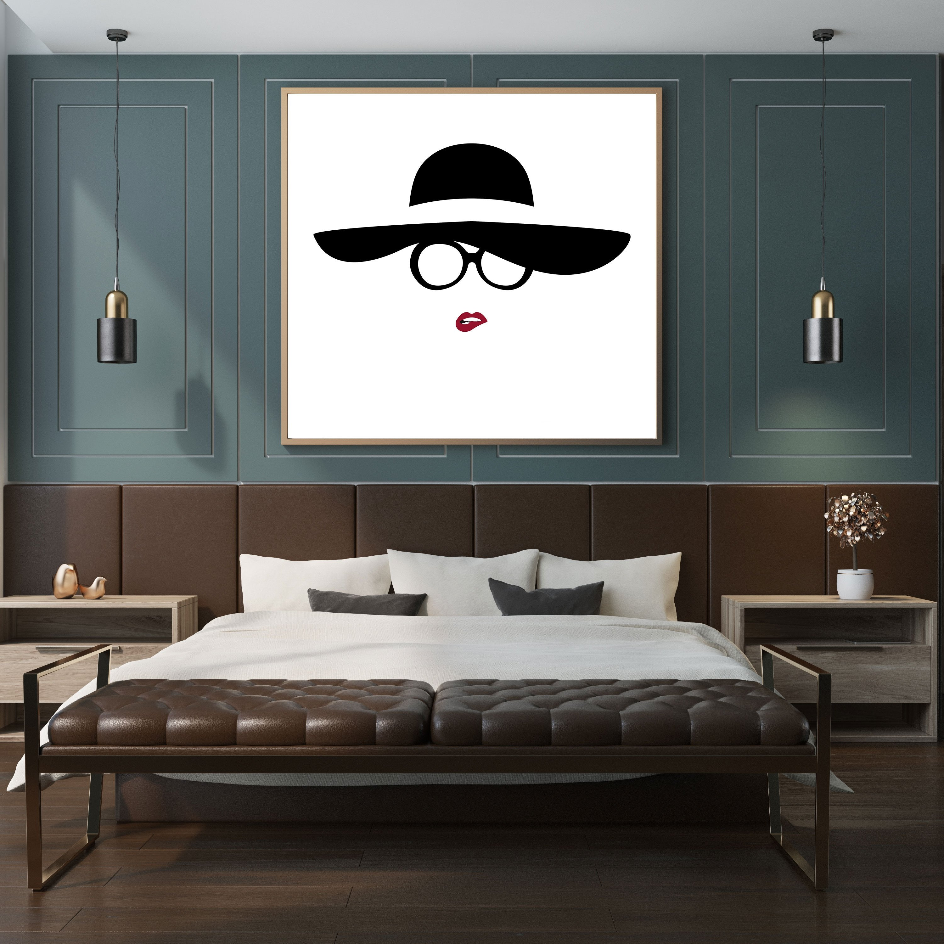 Abstract print with a lady's black hat, eyeglasses and red biting lips, framed