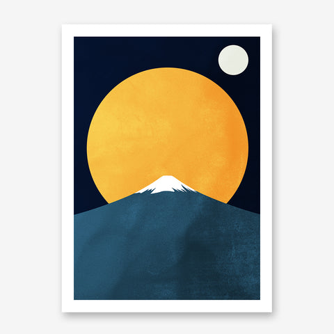 Illustration print by Kubistika, with bright yellow sun, white moon and blue snowy mountain, on dark blue background.