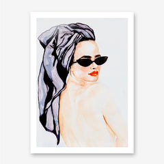 Fashion poster print of an original painting by Sophia Novosel, with a nude woman's portrait with red lips, purple head wrap and black cat eye sunglasses.