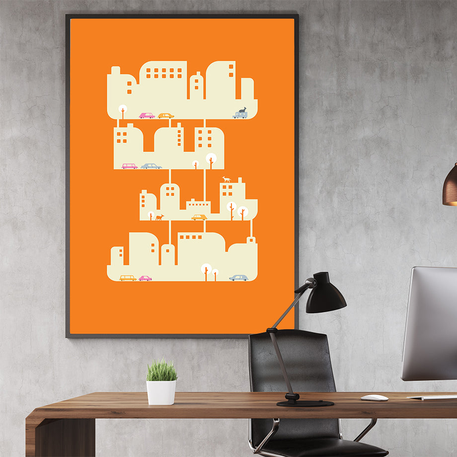 Architecture illustration print with graphic houses and cars, on orange background, in office
