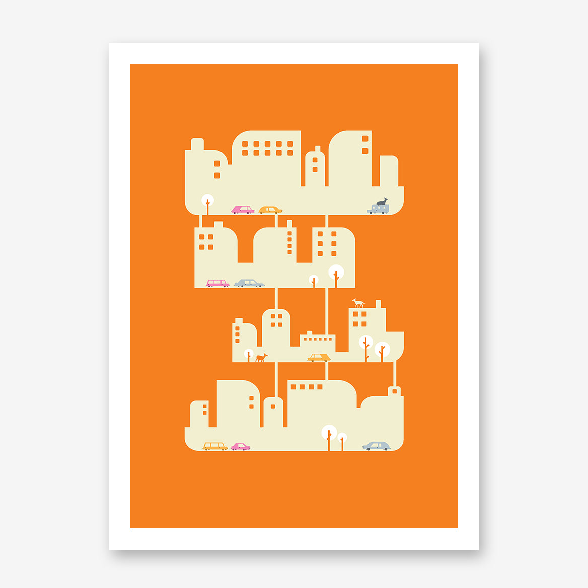 Architecture illustration print with graphic houses and cars, on orange background.