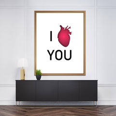 Love typography wall art decor with the quote I red heart (love) you