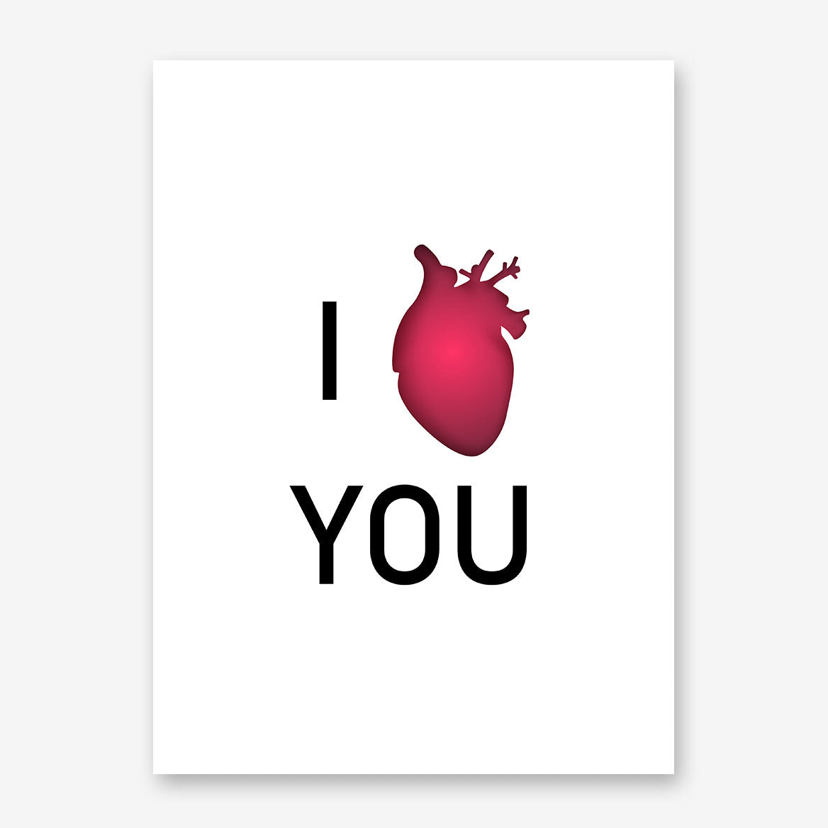Love typography poster print with the quote I red heart (love) you