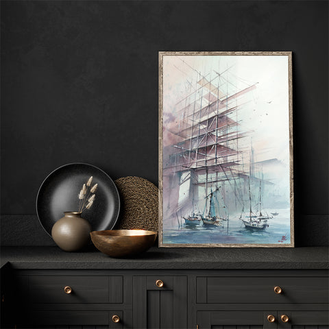 Architecture poster print with boats in a port, originally a watercolour painted artwork by Vera Kolgashkina, in the kitchen