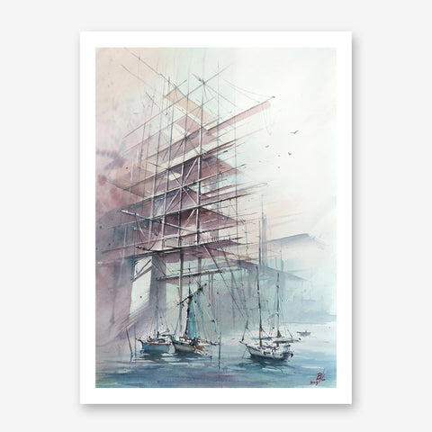 Architecture poster print with boats in a port, originally a watercolour painted artwork by Vera Kolgashkina.