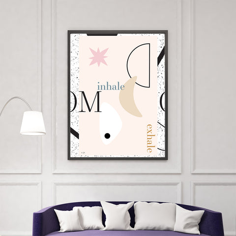 Geometric typography print with ''inhale'', ''exhale'' quotes and shapes, on pink background, living room view