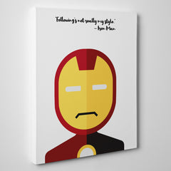 "White canvas print with Iron Man's quote ""Following's not really my style"" and Iron Man's abstract portrait - side view"