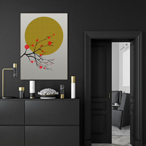 Canvas print with a golden sun and a Japanese blossom tree, on grey textured paper effect background - room view