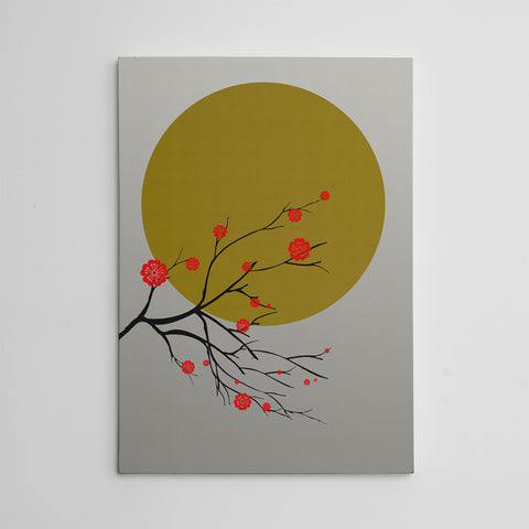 Canvas print with a golden sun and a Japanese blossom tree, on grey textured paper effect background.