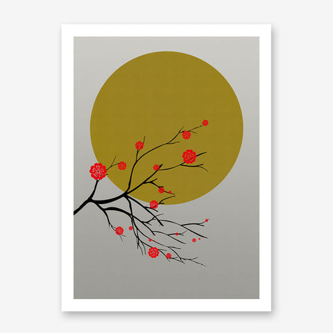 Poster print with a golden sun and a Japanese blossom tree, on grey paper effect background.