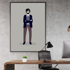 Celebrity illustration print of Jarvis Cocker stylishly drawn by Judy Kaufmann to bring out the essence of his style and character, in office