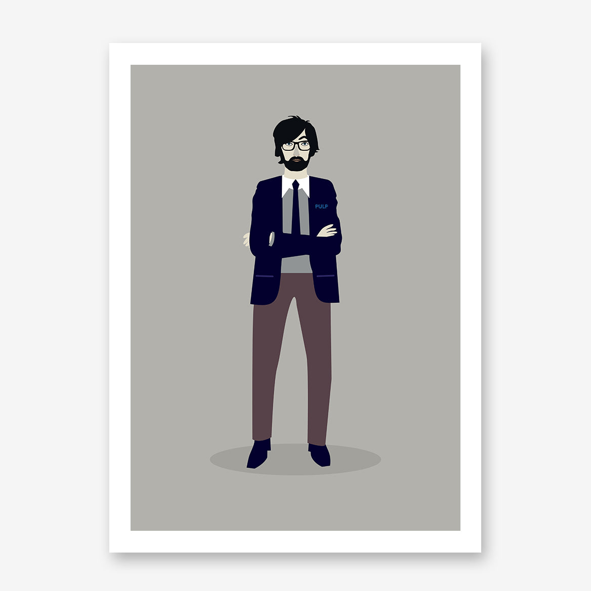 Celebrity illustration print of Jarvis Cocker stylishly drawn by Judy Kaufmann to bring out the essence of his style and character.