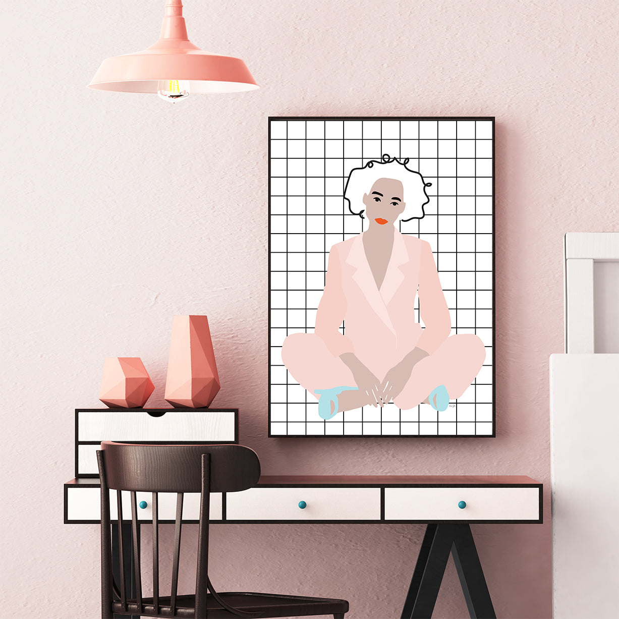 Fashion illustration print with a woman wearing a pink suit, on squares pattern background, wall view