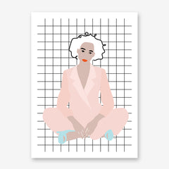 Fashion illustration print by Linda Gobeta, with a woman wearing a pink suit, on squares pattern background.
