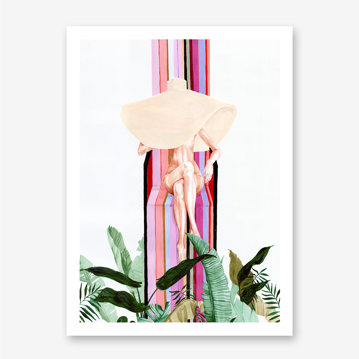 Fashion pink and green poster print by Sophia Novosel, with a naked woman with large hat and leaves.